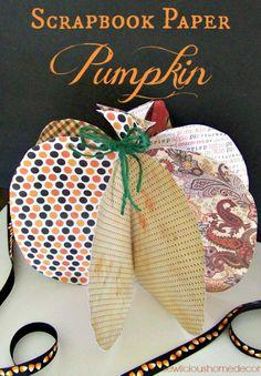 #Scrapbook #Paper #Pumpkin #Halloween #crafts #tutorial #sewlicioushomedecor.com
