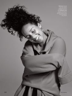 Alicia Keys flashes a smile in Marques' Almeida hoodie for ELLE Magazine UK December 2016 Issue