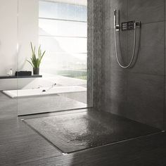 Invisible shower drain with Infinity Drain For Modern Shower Ideas And Tile Flooring tile wall Surround with hand held Shower head