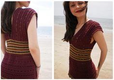 What a fun and simple summer pattern!  Malkah A bold and regal knitted empire-waist summer top with gilded accents and an elegant peek-a-boo textured stitch.  http://www.shiridesigns.com/index.php?option=com_content=article=184