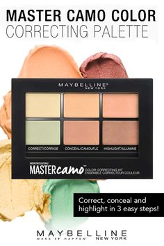Take the guesswork out of color correcting with Maybelline's new Master Camo concealer palette. Correct, conceal and highlight to create a flawless makeup look. All you need to know is your skin tone.
