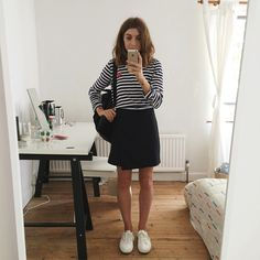 Stripes, skirt, sneakers