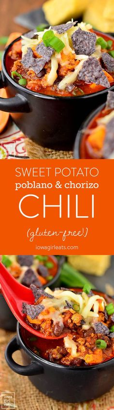 Sweet Potato, Poblano and Chorizo Chili is a southwest twist on classic chili with just the right amount of spice. Quick and easy to whip up, too!  Ben and I are in a heated thermostat war which can o