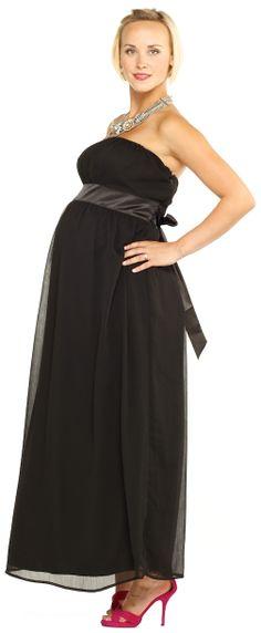 Maternite Long Tube Strapless Black Maxi Maternity Dress  af1010193e72