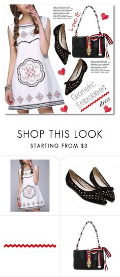 """""""Geometric Embroidered Dress"""" by svijetlana ❤ liked on Polyvore featuring embroidered, polyvoreeditorial and twinkledeals"""