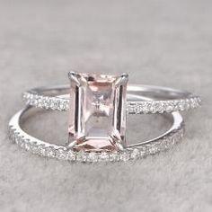 [ $38 OFF ] Ring For Women 1.5Ct 2Pc 6X8Mm Morganite Engagement Ring Set 14K White Gold White Topaz Side Stone Wedding Band Bridal Set
