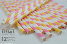 Yellow and Pink Paper Stripey Straws  12pk & by LittleFreeRadical, $3.00