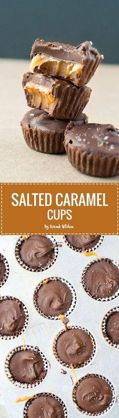 Rich, chewy homemade salted caramel fills these creamy chocolate-coated Salted Caramel Cups. | http://crumbkitchen.com