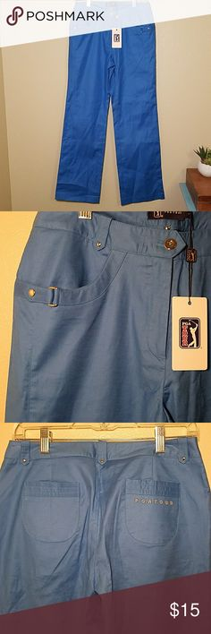 PGA Tour women's golf pants blue large NWT These women's golf pants are PGA Tour brand. They are new with tags. Size large. Two front pockets and two small back pockets. Silver metal detailing. PGA TOUR Pants
