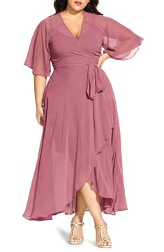 Make your entrance in a luscious and lovely dress with a sheer overlay and fully flowing sleeves. Style Name:City Chic Enthrall Me High/low Dress (Plus Size). Plus Size Cocktail Dresses, Plus Size Gowns, Wedding Dresses Plus Size, Plus Size Maxi Dresses, Plus Size Outfits, Plus Size Bridesmaid, Bridesmaid Dresses, Midi Dresses, Elegant Dresses