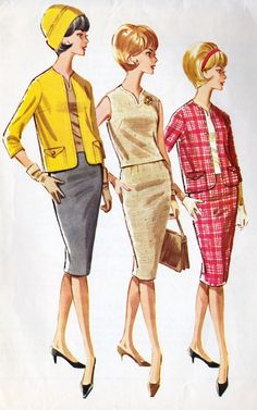 """1960s Misses SUIT and Overblouse Vintage Sewing Pattern, Pencil Skirt, Wiggle Skirt, Office Fashion, Mad Men, McCall's 6188 bust 36"""""""