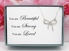 Bow pendant 925 sterling silver necklace birthday gift for