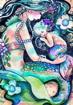 Best Sellers - Mermaids Art - Sleep Baby Sleep by Robin Pushay Mermaid Fairy, Baby Mermaid, The Little Mermaid, Mermaid Drawings, Mermaid Tattoos, Mermaid Bedroom, Mermaid Nursery, Mermaid Pictures, Mermaid Pics