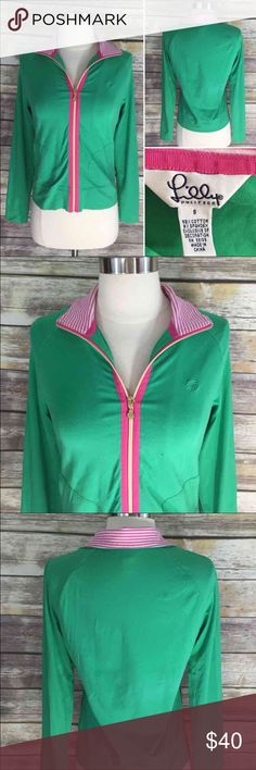 Lilly Pulitzer Size Small Zip Up Top Green Pink Measurements: in inches ⭐️underarm to underarm: 17 ⭐️length: 21 Good, gently used condition Lilly Pulitzer Tops Sweatshirts & Hoodies