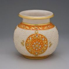 Accessories -- Indian Home Decor: Hand Painted Marble Pot