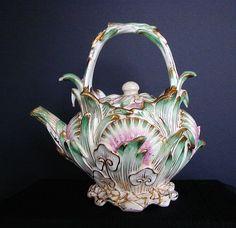 Coalbrookdale Teapot, Signed, John Rose Coalport Porcelain, Antique 19th C English