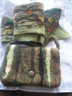 Felted scarf with little bag.handmade Original by FeltWorld51, $53.00