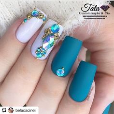 Best Beauty Nails Part 8 Gem Nails, Diamond Nails, Bling Nails, Hair And Nails, Colorful Nail Designs, Beautiful Nail Designs, Nail Art Designs, Cute Nails, Pretty Nails