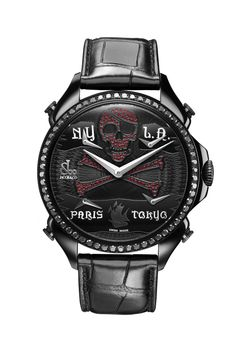 Jacob & Co.'s Palatial FTZ Timepiece with Black PVD dial with pirate design, with black diamonds and rubies Fine Jewelry, Engagement Rings, Watches, Luxury, Black Diamonds, Accessories, Collection, Halloween, Design