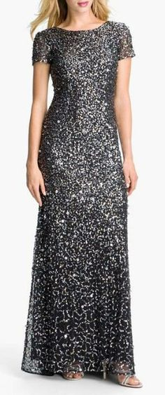 Head to toe, sequin gown