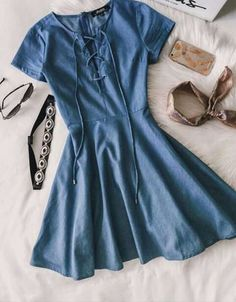 Your friends will try to uncover clues about where you might have gotten the Always Wonder Blue Chambray Lace-Up Skater Dress! Short sleeves frame a darted bodice with a lace-up neckline, while a woven skater skirt flutters below. Source by nescey Dresses Jw Mode, Look Fashion, Fashion Outfits, Dress Fashion, Fashion Clothes, Casual Fashion Style, Fashion Scarves, Trendy Style, Ladies Fashion