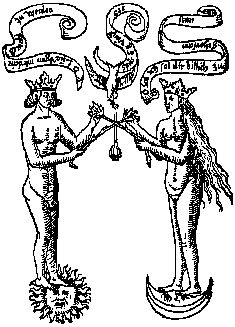 Rosarium Philosophorum (part 1)  This image depicts nudity, which is acceptable in the context of alchemy.  Jung writes Psychology and Alchemy in a sense outlining the transferential differences between psychology, which much be clothed, and the art of alchemy, which is exposed, religious, and therefore dangerous.
