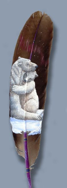 Hand Painted Feather by Julie Thompson (Polar Bears)