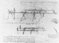 Construction of a Scaffolding Bridge, fol. 16v-a, from the Codex Atlanticus, 1478-1519 (pen & ink on paper) by Leonardo da Vinci