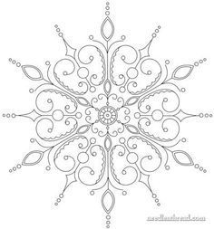 Paper Embroidery Patterns Free hand embroidery snowflake pattern, by Mary Corbet of Needle 'n Thread. - As promised, here's the snowflake pattern I'm using for the silver, silk, Embroidery Designs, Paper Embroidery, Beaded Embroidery, Cross Stitch Embroidery, Snowflake Embroidery, Machine Embroidery, Crewel Embroidery, Embroidery Monogram, Vintage Embroidery Patterns