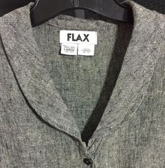 Flax Linen Blouse Large Black Textured Relaxed Button Front Round Collar #Flax #Blouse #Casual