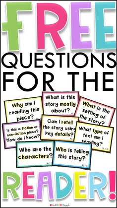 It's day two of Celebrate Reading Month! Today, we are going over types of questions to ask while reading to help students identify key ideas and details. 8th Grade Reading, Third Grade Writing, Teaching First Grade, First Grade Classroom, Kindergarten Reading, Third Grade Centers, Classroom Fun, Student Teaching, Teaching Tools