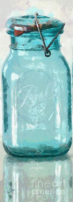 Vintage Ball Blue Fruit Canning Jar Painting  - Vintage Ball Blue Fruit Canning Jar Fine Art Print... gave me chills!