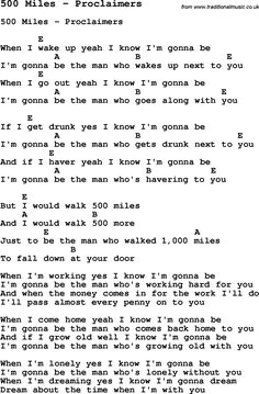 Song 500 Miles by Proclaimers, with lyrics for vocal performance and accompaniment chords for Ukulele, Guitar Banjo etc.