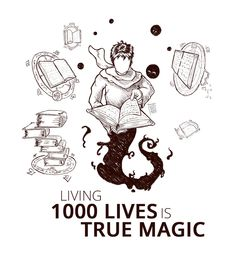 Living 1000 lives is true magic Ant Art, Reading Books, Ants, Rain, Snoopy, Illustration, Fictional Characters, Life, Rain Fall