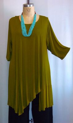 Coco and Juan Plus Size Asymmetric Tunic  Top Olive by COCOandJUAN