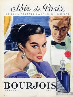 Bourjois (Perfumes) 1957 Raymond Brénot, Soir De Paris