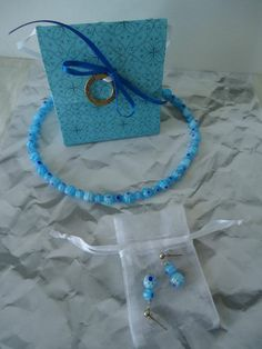 Dainty blue millifiori glass beads with matching gift bag $18 for the 3 piece set (+S)