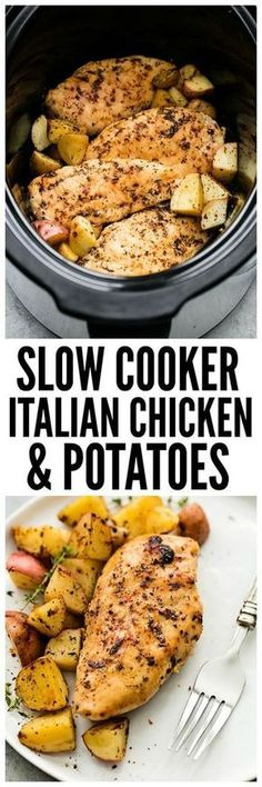4952c27556 Slow Cooker Italian Chicken and Potatoes is such an easy meal to make but  packed with