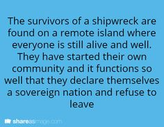 The survivors of a shipwreck are found on a remote island where everyone is still alive an dwell. They have started their own community and it functions so well that they declare themselves a sovereign nation and refuse to leave.