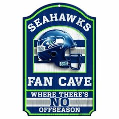 """NFL Seattle Seahawks 11-by-17 """"Fan Cave"""" Wood Sign by WinCraft. $17.99. Vibrant Colors. Indoor or outdoor use. Durable and wipes clean. Perfect for the No.1 fan. Made in USA. Hardboard wood signs are 1/4"""" thick, decorated with quality graphics to resemble an antique wood finish. A matte finish laminate top is added for greater durability and a precision cut smooth edge makes this a great indoor decor sign. Made in USA"""