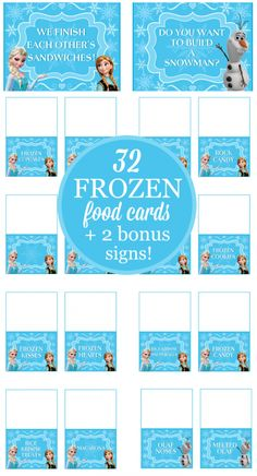 Just print, cut out and you have a great Frozen party dessert and snack buffet!  The set is an INSTANT DOWNLOAD and has eight pages of Frozen food cards, plus two bonus signs.  See the Frozen party food cards in action in my party post!  Check out this post to see Frozen party food ideas!  The Frozen food cards have eight pages of cards, including:  Frozen Cake, Frozen Cupcakes, Elsa Wands, Cake Pops, Meringues, Chocolate Oreos, Frozen Cookies, Donut Snowmen, Blue Jello, Snowflake Pretzels…
