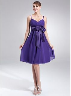 Empire V-neck Knee-Length Chiffon Charmeuse Bridesmaid Dress With Ruffle Sash Bow(s) (007000841) - JJsHouse - sage and/or lilac