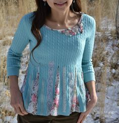 Me Sew Crazy: Tea Rose Home New Years ReSewLution => she uses an old sweater and turns it into a fantastic new piece of fashion ! Now, I'm sure I have an old sweater somewhere ???