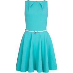 Closet Flared belted dress (230 ARS) ❤ liked on Polyvore