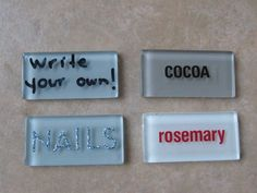 Sew Many Ways...: Tool Time Tuesday...Tile For Labels. Great idea to use these with my leftover tiles from my backsplash