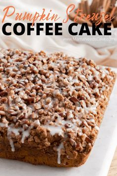 This pumpkin streusel coffee cake takes the classic to a new flavorful level. This delicious breakfast or brunch treat is topped with vanilla glaze and chopped pecans. Pumpkin Coffee Cakes, Pumpkin Cake Recipes, Cupcake Recipes, Cupcake Cakes, Dessert Recipes, Cupcakes, Streusel Coffee Cake, Sour Cream Coffee Cake, Quick Easy Desserts