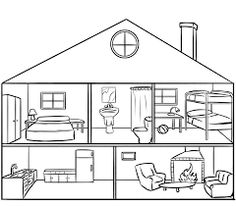 29 trendy house sketch coloring pages House Colouring Pages, Coloring Books, Coloring Pages, House Sketch, House Drawing, Paper Houses, Home Schooling, Teaching Materials, Black House
