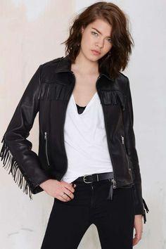 Maison Scotch Ambush Leather Fringe Jacket - All   Moto Jackets   Moto