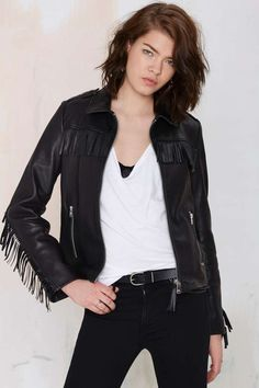 Maison Scotch Ambush Leather Fringe Jacket - All | Moto Jackets | Moto