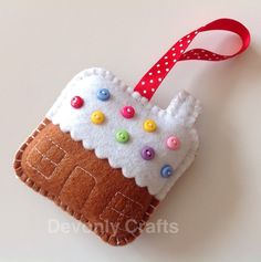 Hand Stitched Felt Gingerbread House Christmas Decoration £5.50